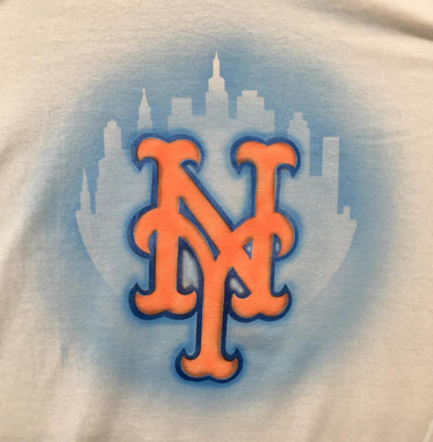 Custom Mets logo with city background