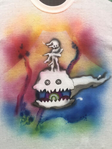Kids See Ghosts album cover art airbrushed on t-shirt